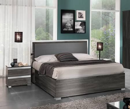 MCS Oxford Grey High Gloss Bed Frame