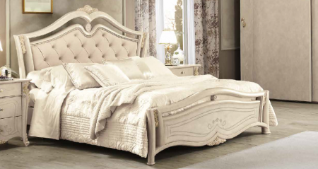 Saltarelli Alba Bed With Studded Headboard and Wooden Footboard