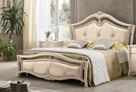 Saltarelli Alba Upholstered Bed with 3 buttons on Headboard and Footboard