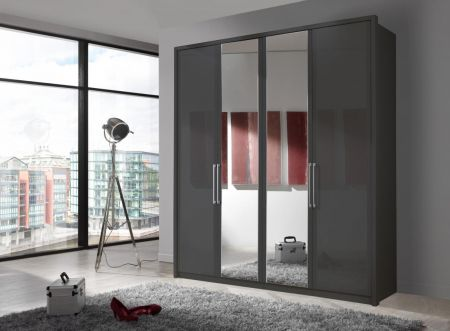 WIEMANN BERLIN 2 Door Sliding wardrobe with 4 panels with crystal mirror and Graphite Carcase