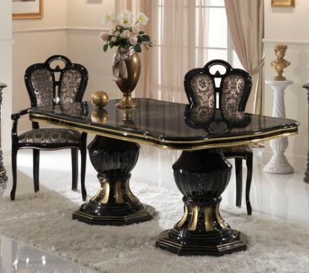 Ben Company Betty Black/Gold Extendable Table