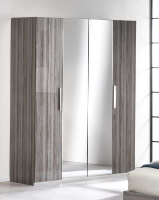 San Martino Beverly High Gloss 4 Door Wardrobe With 2 Mirrored Doors