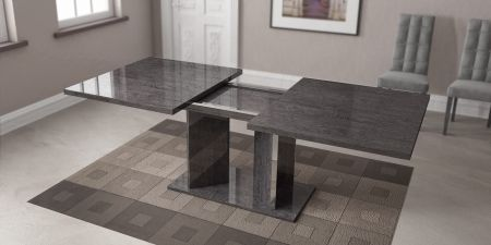 Status Sarah Grey Birch Dining Table With Extension