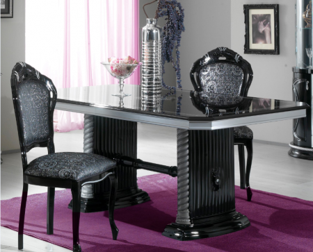 Ben Company New Venus Black & Silver Dining Set with Rectangular Table