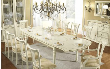 Camel Group Siena Ivory Rectangular Dining table with 2 Extensions