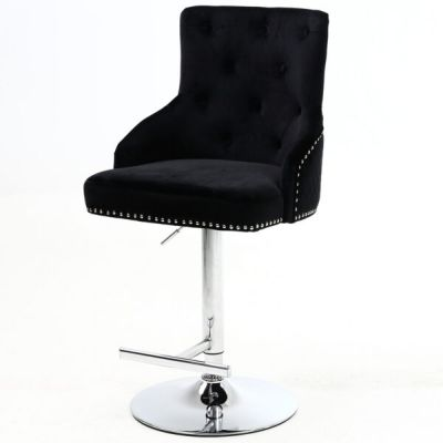 Majestic Elegant Black Fabric Bar Stool