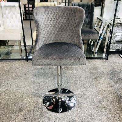Valentino Grey Velvet Bar Stool