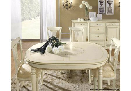 Camel Group Siena Ivory Oval Dining Table with 1 Extension