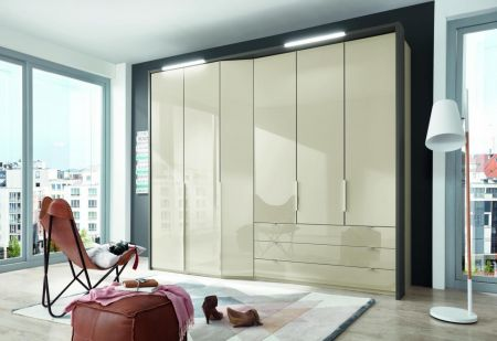 WIEMANN CAYENNE Champagne Finish Combi wardrobes with dual depth Width 283 cm 3 Pull-outs 150 cm Right
