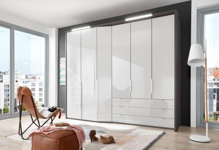 WIEMANN CAYENNE White Finish Combi wardrobes with dual depth Width 283 cm 3 Pull-outs 150 cm Right
