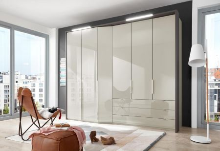 WIEMANN CAYENNE Pebble Grey Finish Combi wardrobes with dual depth Width 283 cm 3 Pull-outs 150 cm Right