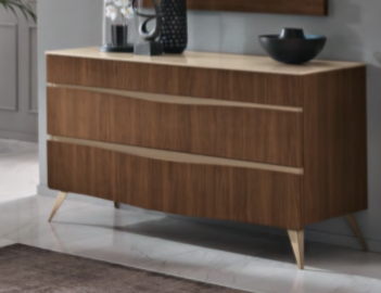 Saltarelli Emozioni Walnut Dressing Table With Marble Top and Wooden Drawers