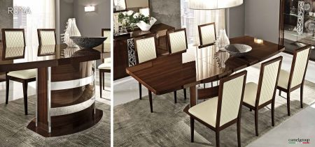 Camel Group Roma Walnut High Gloss Extending Dining Table with 6 Chair