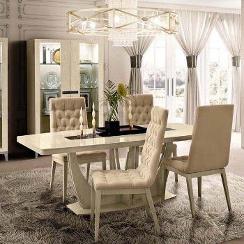 Camel Group Platinum Ivory Finish Capitone Dining Chair