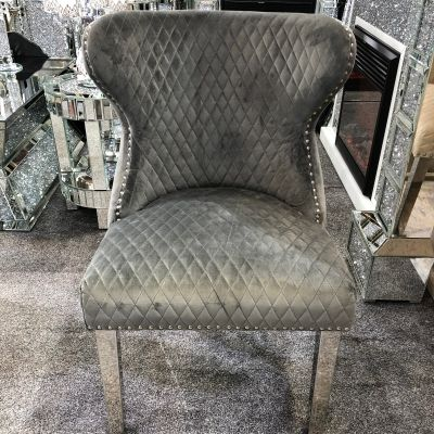 Valentino Grey Velvet Dining Chair