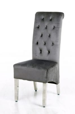 Sofia Grey Colour Chrome Leg Lion Knocker Dining Chair