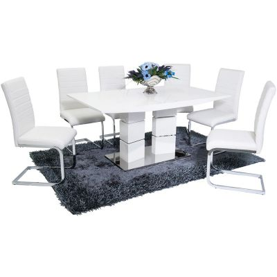 Vegas White High Gloss Dining Table