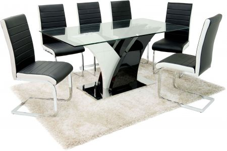 Miami Clear Glass Top With Black and White High Gloss Dining Table