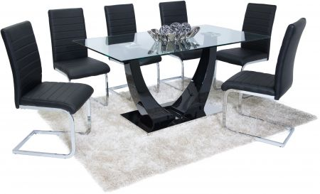 Oslo Clear Glass Top With Black and White High Gloss Dining Table With 6 Chairs