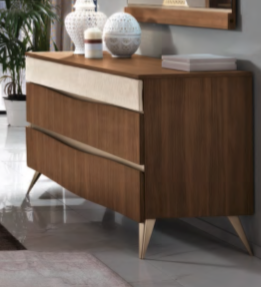 Saltarelli Emozioni Walnut Dressing Table With Wooden Top and Upholstered Drawer