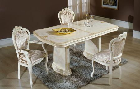 H2O Design Elizabeth Beige Marble Effect Extendable Table