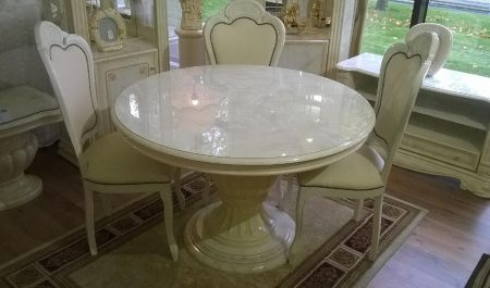 H2O Design Elizabeth Beige Marble Effect Round Table