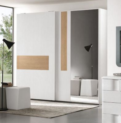 Euro Design Levante Sliding Door Wardrobe White With Warm Elm Highlight & Mirror