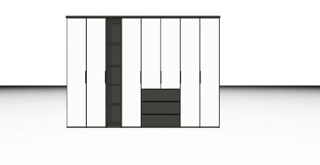 HORIZONT 110 -  Combination Wardrobe with a Wooden shelf