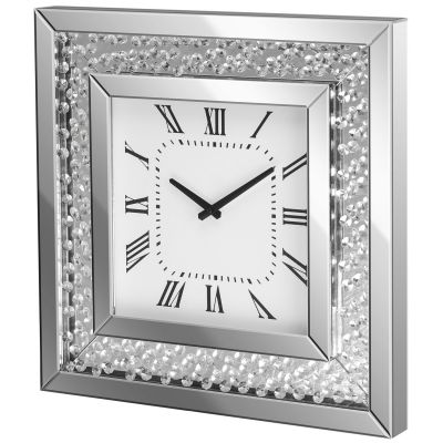 Floating Crystals Bevelled Mirror Wall Clock