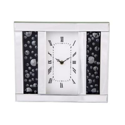 Mirrored And Floating Smoked Crystal, Black Jewel Mantel Clock