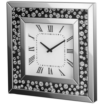 Wall clock with black backing and floating crystal