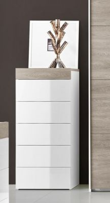 Tuttomobili Gessy Oak/White Tall Chest Of Drawers