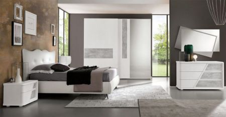 Euro Design Levante Sliding Door Wardrobe White With Grey Highlight & Mirror