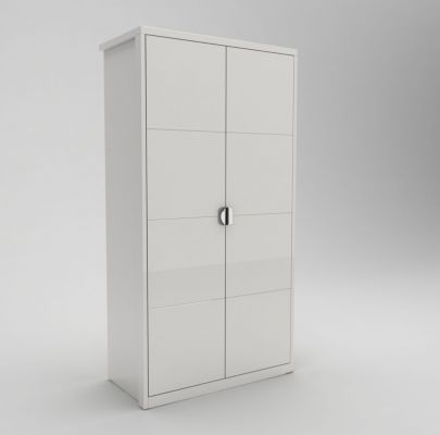 GCL Eleanor White High Gloss 2 Door Gents Hinged Wardrobe