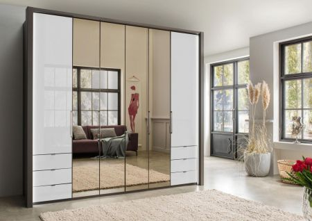 WIEMANN Kansas 6 Door Wardrobe with 3 drawers 50 cm left and right, bi-fold doors with automatic door opening in White Finish with 4 Mirrored Doors.