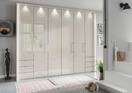 WIEMANN Kansas 6 Door Wardrobe with 3 drawers à 50 cm left and right, bi-fold doors with automatic door opening in Champagne Finish.