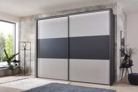 WIEMANN Korfu 2 Door Sliding Wardrobe with Front in White Center Highlight in Carcase Colour with Passe Partout