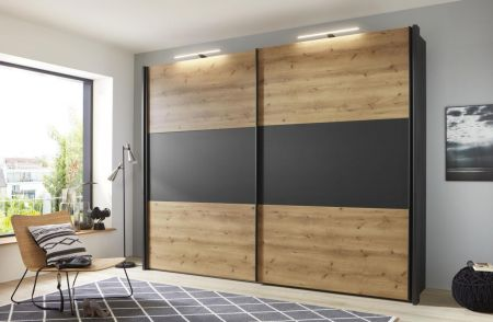 WIEMANN Korfu 2 Door Sliding Wardrobe with Front in Bianco Oak and Center Highlight in carcase colour