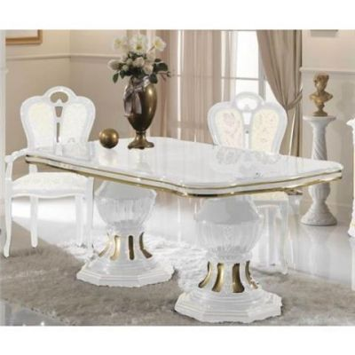 Ben Company Betty White Gold Extendable Table