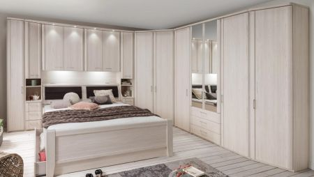 WIEMANN LUXOR Combination 8 Doors Hinged Wardrobe in Polar Larch Repro Finish Combination unit 6 with 50 cm occasional elements, 3 drawers at bottom, open compartment with wooden doors.