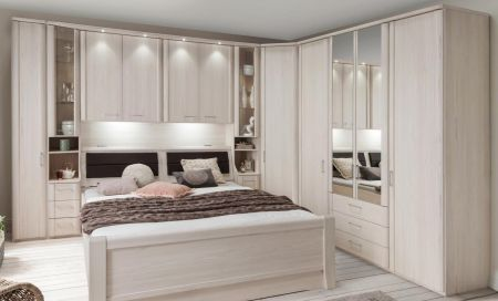 WIEMANN LUXOR Combination 6 Doors Hinged Wardrobe in Polar Larch Repro Finish Combination unit 6 with 50 cm occasional elements, 3 drawers at bottom, open compartment with wooden doors.