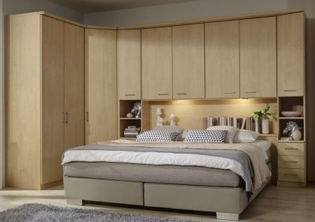 WIEMANN LUXOR Combination 3 Doors Hinged Wardrobe in Golden Maple Repro Plain Front Finish Combination unit 6 with 50 cm occasional elements, 3 drawers at bottom, open compartment with wooden doors.