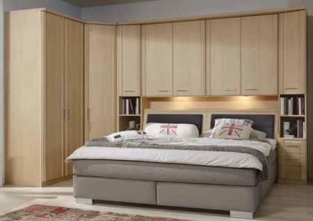 WIEMANN LUXOR Combination 3 Doors Hinged Wardrobe in Golden Maple Repro Front with Trims Combination unit 6 with 50 cm occasional elements, 3 drawers at bottom, open compartment with wooden doors.