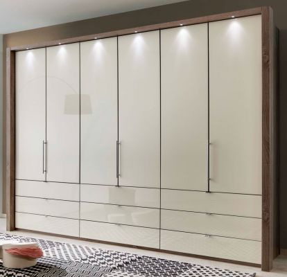 WIEMANN LOFT 6 Door Functional wardrobes with bi-fold-panorama doors Champagne Glass Finish with 9 Drawers
