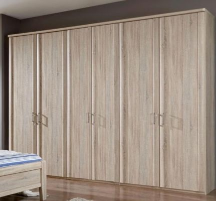 WIEMANN LUXOR 6 Door Hinged wardrobes with trims in Holm Oak Finish with Cornice