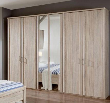 WIEMANN LUXOR 6 Door Hinged wardrobes with trims and 2 Mirrored Doors in Holm Oak Finish with Cornice