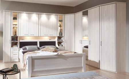 WIEMANN LUXOR Combination 6 Doors Hinged Wardrobe in Polar Larch Repro Finish . Combination Unit10 with 50 cm occasional elements, 3 drawers at bottom, open compartment with clear glass doors.