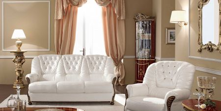 Camel Group Luxor Cream and Gold Leather Sofa With Swarowsky 3+2
