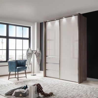 WIEMANN Malibu 2 doors Sliding Wardrobe with Front in Champagne Glass comes with 3 Drawers left