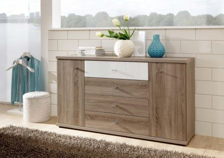 WIEMANN Miro Combination dresser with 4 large drawers in Rustic oak finish with Top drawer in White Glass